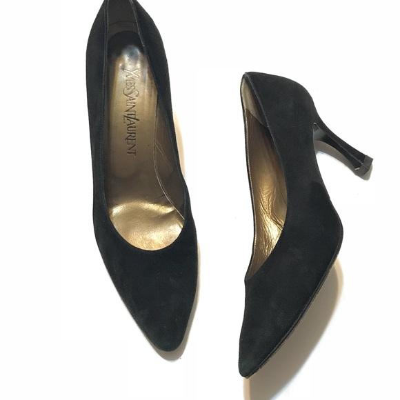 bd2fc44ffbf YSL Yves Saint Laurent Black Suede Leather Heels